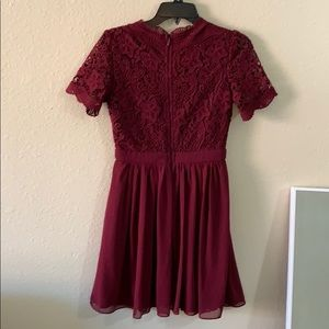 Lulu's Dresses - Lulu's • Burgundy lace skater dress